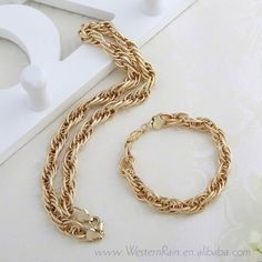 New arrival Christmas Gift Yellow Gold Plated Men Jewelry Link Chain Choker Necklace & Bracelet  Gold Jewelry sets