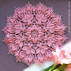 Pink lace doily Decorative crochet tablecloth with heart Crochet Carpet, Crochet Home, Irish Crochet, Crochet Crafts, Crochet Projects, Free Crochet, Diy Crafts, Lace Doilies, Crochet Doilies