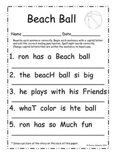 Easter Fix It Up Sentences Distance Learning – school – Korb Kindergarten Writing, Teaching Writing, Writing Prompts, Writing Lessons, Kindergarten Worksheets, Literacy, Writing Worksheets, Punctuation Worksheets, First Grade Writing