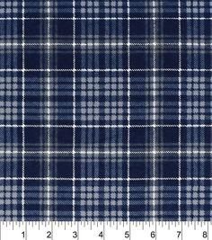 f1b9ddf0ef4 Snuggle Flannel Fabric -Navy Grey Plaid