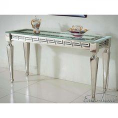 F375 A Viviana fehér konzolasztala pompás szépségével garantáltan beragyogja előszobádat. Robusztus, erős lábai rozsdamentes acélból készültek, így biztosítják az asztal kiváló tartását. Átlátszó, edzett üveg asztallapja görög stílusú mintáival még egyedibbé varázsolja a rendkívül jó minőségű alapanyagokból készült bútort. Entryway Tables, House Design, Furniture, Home Decor, Decoration Home, Room Decor, Home Furnishings, Architecture Design, Home Interior Design