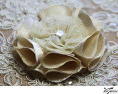 4 Handmade fabric flowers for DIY bridal bouquet, pomander, wedding decor, corsage, sash - champagne, beige, ivory