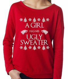 A Girl Has No Ugly Sweater Game of Thrones Ugly Christmas Shirt Long Sleeve Shirt Ugly Sweater Party Winter is Coming Red Green Arya Stark Christmas Long Sleeve Shirts, Ugly Christmas Sweater Women, Red Long Sleeve Shirt, Christmas Sweaters, Terry Long, Christmas Arts And Crafts, Ugly Sweater Party, Books To Buy, Winter Is Coming
