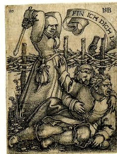 Plate 10: The lovers discovered; a female figure standing at l lifting a stick to hit the male and female figure on the ground at r; from a series of twelve engravings.  c.1537 Engraving