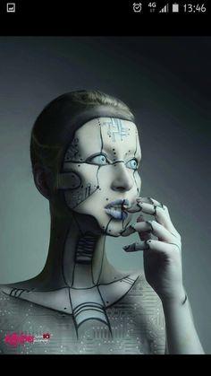 Holly G: skull cap option Body Makeup, Sfx Makeup, Costume Makeup, Makeup Art, Futuristic Makeup, Futuristic Robot, Robot Makeup, Cool Face Paint, Arte Cyberpunk