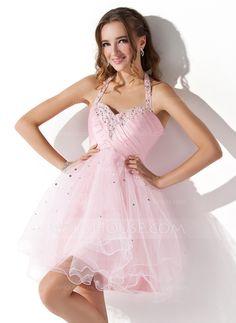 A-Line/Princess Halter Short/Mini Taffeta Tulle Homecoming Dress With Ruffle Beading Sequins (022008942)