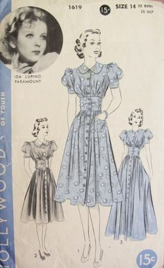 Late 30s Beautiful Frock Pattern HOLLYWOOD 1619 Midriff Dress Puff Sleeves Day or Evening Length Features Starlet IDA LUPINO Bust 32 Vintage Sewing Pattern