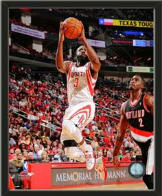 One framed 8 x 10 inch Houston Rockets photo of James Harden.  The photo is textured and comes glassless in a wood frame.  $19.99 @ ArtandMore.com