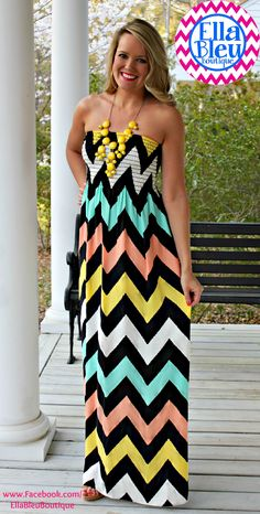 OBSESSED with the colors in this maxi! Shop on Boutique Clothes for LESS on FB at Ella Bleu! www.Facebook.com/EllaBleuBoutique