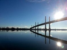 The sunny skies of Dec. 30 made for calm waters along the Fraser River and a beautiful clear sky as a backdrop for this picture of Golden Ears Bridge, taken by Chris Carter. Fraser River, Chris Carter, Calm Waters, Dec 30, 14 Year Old, Clear Sky, Ears, Backdrops, Bridge