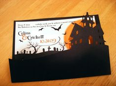Halloween wedding invitation...If we print them not make them this one is cool.