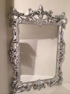 Ornate Rectangular Silver Leaf Mirror Vintage  on Etsy, $85.00