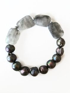 Cloudy Quartz Stretch Bracelet Black Pearl Bracelet Black Pearl Stretch Bracelet Black Fresh Water Pearls Jewelry by Julemi Jewelry.  Think I would replace the pearls with onyx, target men.
