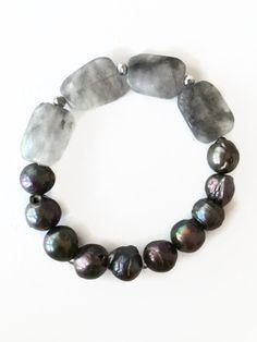 Cloudy Quartz Stretch Bracelet Black Pearl Bracelet Black Pearl Stretch Bracelet Black Fresh Water Pearls Jewelry by Julemi Jewelry