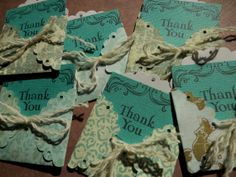 3 Handmade Mini  THANK YOU  Cards with Envelopes  by PaperPastiche, $5.95
