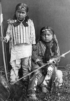 Kiowa Boys, photographed at Fort Sill, Indian Territory, 1890 by H. P. Robinson.