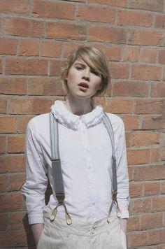 Paul Harnden Ruffle Collar Shirt Paul Harnden Braces Vlas Blomme Cinch Back Trousers £245 Acne Studios Adriana Stripe Sneaker £270