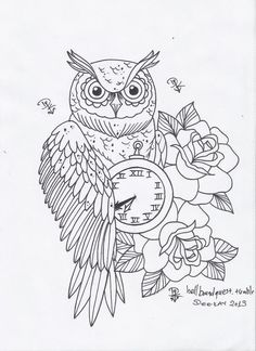 Owl Clock And Roses Tattoo Designs Owl Coloring Pages, Adult Coloring Book Pages, Printable Coloring Pages, Coloring Books, Owl Tattoo Design, Tattoo Designs, Tattoo Owl, Owl Clock, Animals