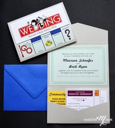 Do you and your partner love a good, competitive board game? This Monopoly themed invitation from PaperTruly is amazing. Continue the theme with a quirky table plan and Monopoly inspired table names to match. Creative Wedding Invitations, Wedding Invitation Wording, Wedding Stationary, Invitation Design, Invitation Ideas, Quirky Wedding Stationery, Invites Wedding, Anniversary Invitations, Invitation Cards