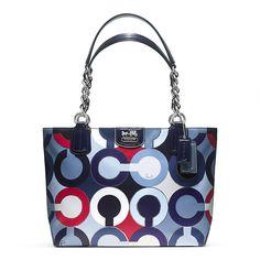 Madison Graphic Op Art Metallic Tote Lord And Taylor 208 49 Designer Handbags