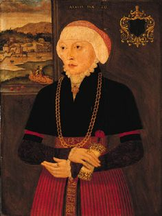 Ludger Tom Ring II (1522-1584)    A wedding Portrait of a Lady, aged twenty, standing three-quarter length, holding a flower, a landscape with buildings by a river seen through a casement beyond.    Inscribed with a coat-of-arms, the age of the sitter and the initials 'H.E.' (embroidered on the belt)  on panel  30½ x 22½in. (77.5 x 57.1cm.)