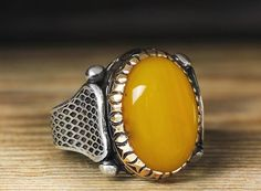 925 K Sterling Silver Man Ring Yellow Agate $36.01