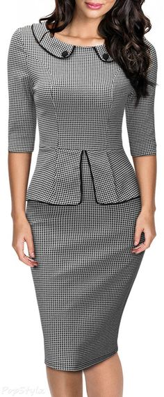 MIUSOL Retro Neck Houndstooth-Print Peplum Pencil Dress …