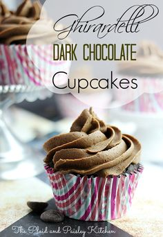 Ghirardelli Dark Chocolate Cupcakes ~ Made from scratch using only the best chocolate available these cupcakes are to Die For Good! So Rich and dense and everything you could ever want in a chocolate cupcake Baking Cupcakes, Yummy Cupcakes, Cupcake Recipes, Baking Recipes, Cupcake Cakes, Dessert Recipes, Cupcake Pics, Cup Cakes, Dark Chocolate Cupcakes