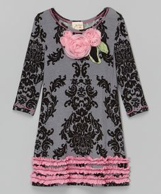 6f8b3c31d Look at this Gray   Pink Damask Rosette Shift Dress - Toddler   Girls on