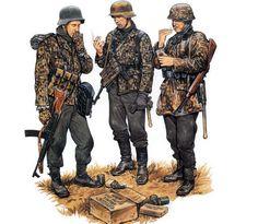 german uniforms - Battle of the Bulge. Ww2 Uniforms, German Uniforms, Military Uniforms, German Soldiers Ww2, German Army, Military Art, Military History, Military Drawings, Camo