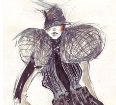Fashion sketch costume with a lot of details by bijuterra on Etsy, $30.00