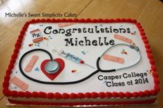 Sheet Nursing School Graduation Cake with Butter Cream Frosting and Fondant Accents Nursing Graduation Cakes, Doctor Cake, Nursing Students, Nursing Schools, Energy Snacks, Graduate School, Unique Recipes, Themed Cakes, Party Cakes