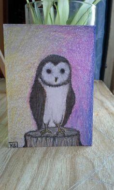"Barn Owl Mini 2.5""x 3.5"" Illustration Board Artist Trading Card - pencil and colored pencils"