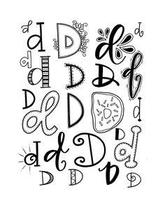 Den Buchstaben D in verschiedenen Varianten lettern