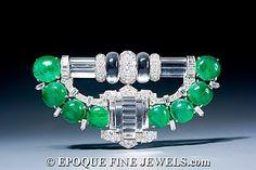 Trabert & Hoffer - Mauboussin,  Rock Crystal and Emerald Art deco Brooch