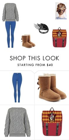 """Caroline Lahey"" by leah-holly-walker ❤ liked on Polyvore featuring Topshop, UGG and AV London"