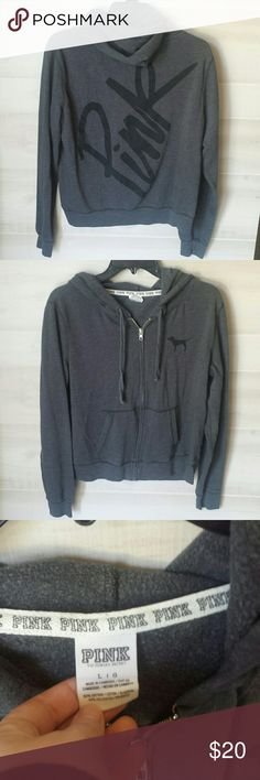 Victoria's Secret Charcoal Gray PINK zip up hoodie Super cute charcoal gray zip up hoodie from Victoria's Secret.  Says PINK on the back with the little dog on the front. Zipper works great, has drawl string still on place , no stains but a few fuzzies from being washed. Smoke free home. 60% cotton and 40% polyester. I ship fast & bundle. PINK Victoria's Secret Tops Sweatshirts & Hoodies