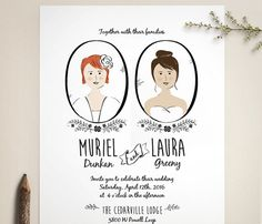 Adorable same sex wedding invitations featuring whimsical, styled portraits of the two brides. Modern folk style. Original illustration and design
