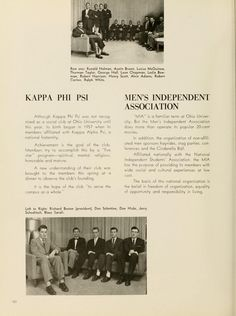 """Athena Yearbook, 1959. Alvin Adams top 3rd from right in Kappa Phi Psi group shot. Adams was the first African-American graduate of the School of Journalism. He went on to career that included working for the nation's first Black daily newspaper the Chicago Daily Defender and covering Martin Luther King's """"I Have a Dream"""" speech and Malcolm X's assassination for Jet magazine. Adams and his wife, Ada, co-founded the Multicultural Genealogical Center in Chesterhill, Oh :: Ohio University…"""