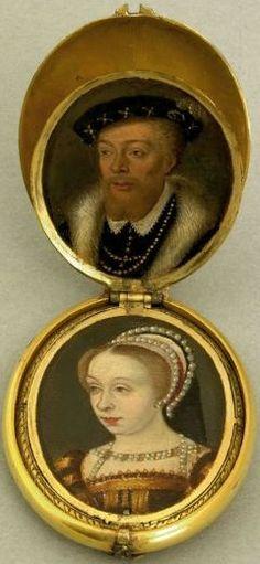 Médaillon contenant huit portraits de famille, école flamande du 17e siècle