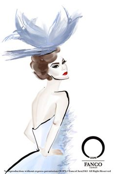 2011 christian dior catwalk look  by Fanco Chen at OOPS fashion illustration studio