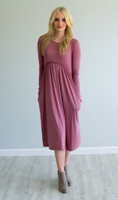 Natalie Dress Mauve - Olive Ave