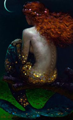 'Promise' by Victor Nizovtsev... glittering red head mermaid in gold...