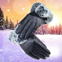 Manusi elegante de iarna, pentru exterior, pentru femei, calduroase si cu captuseala de plus, rezistente la apa, din piele ecologica, cu touch screen