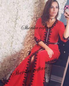 NOUVEAU MODEL SUR COMMANDE 2018❤ Caftan velour rouge avec broderie noir .  Chic moderne et 10d6d6eeb