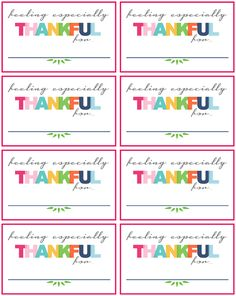 Free thankful printables. Perfect for putting into your gratitude jar each day and reading at the end of the year.