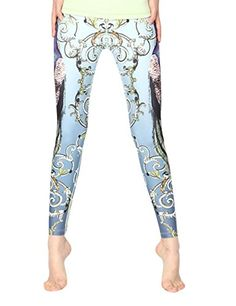 d46ff31e8b644 HUINI Womens Peacock Printing Yoga Cropped Pants Workout Leggings Sport  Trousers Size M -- Want