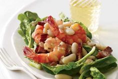 WARM spinach salad with beans and shrimp