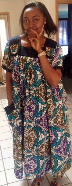 Robe Africaine dete / Cabas fait a la main en pagne Wax. de la boutique AfricanPrintClothes sur Etsy