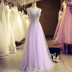 Lavender prom dress, long evening dress for teens, beautiful stunning tulle A-line dress for prom 2017